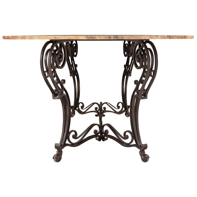 19th Century Wrought Iron Base and Marble Top Center Table For Sale 1