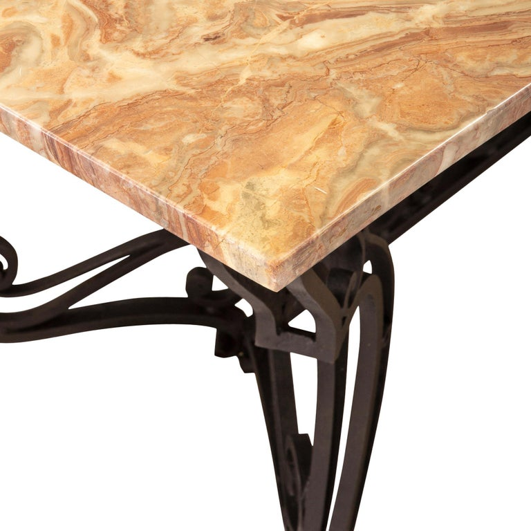 19th Century Wrought Iron Base and Marble Top Center Table For Sale 2