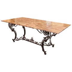 19th Century Wrought Iron Base and Marble Top Center Table