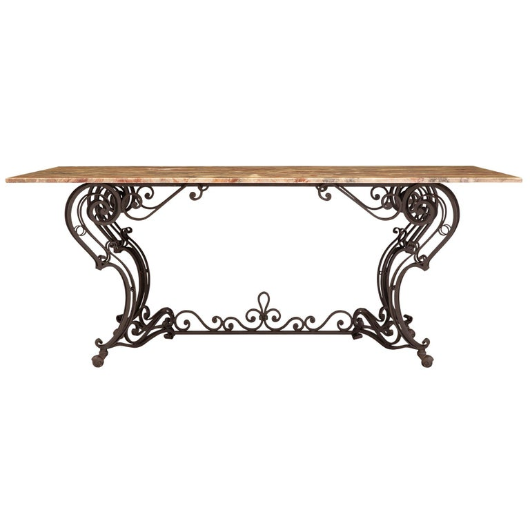 19th Century Wrought Iron Base and Marble Top Center Table For Sale