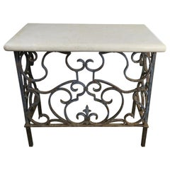 19th Century Wrought Iron Console with Travertine Top