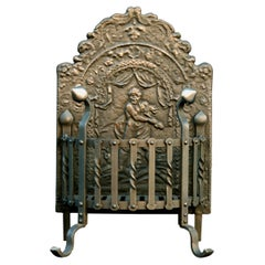 19th Century Wrought Iron Firegrate with Decorative Cast Iron Fireback