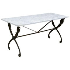 19th Century Wrought Iron Marble-Top Confectioner's Table