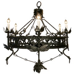 19th Century Wrought Iron Patinated Chandelier