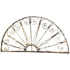 19th Century Wrought Iron Semi Circle Fan Light / Architectural Antique