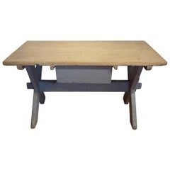 19th Century X-Shaped Country Light Blue Fir Wood Table