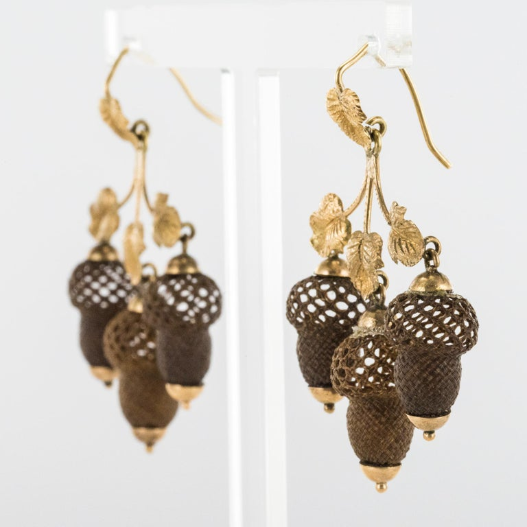 Victorian 19th Century Yellow Gold Hair Leaves Glans Drop Earrings For Sale