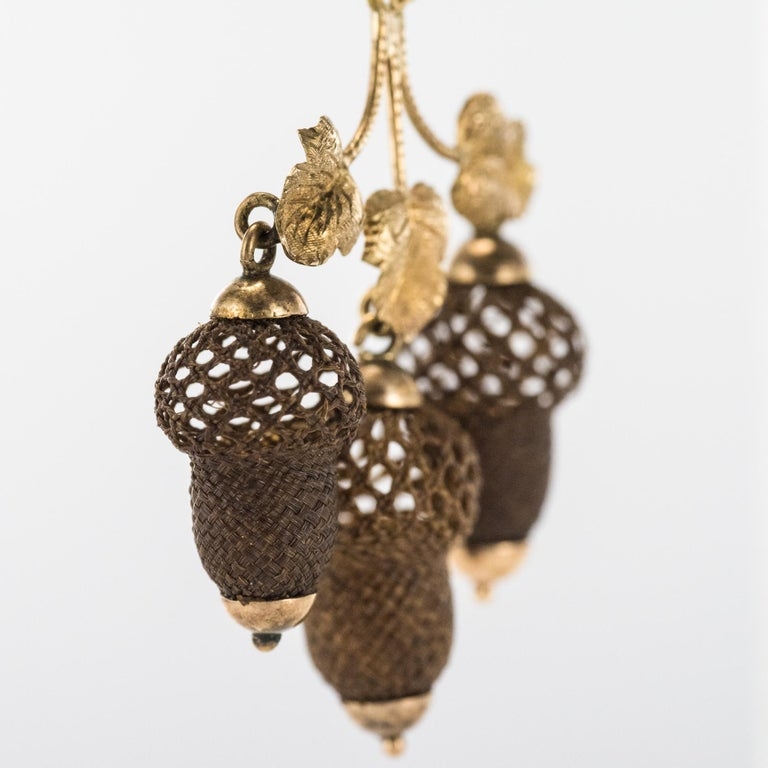 19th Century Yellow Gold Hair Leaves Glans Drop Earrings For Sale 1