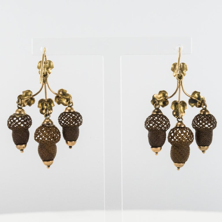 19th Century Yellow Gold Hair Leaves Glans Drop Earrings For Sale 2