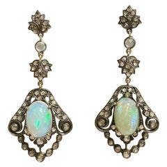 19th Century 18k Yellow Gold, Silver, Opals and Diamonds Stud Drop Earrings
