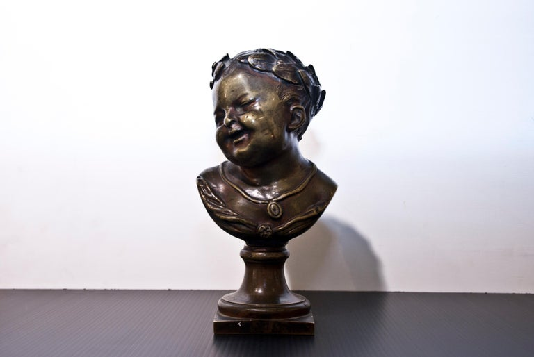 19th century bronze bust of young emperor.   This object is shipped from Italy. Under existing legislation, any object in Italy created over 70 years ago by an artist who has died requires a licence for export regardless of the work's market price.