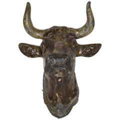 19th Century Zinc Bull Head