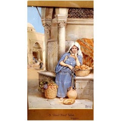 19th Century, a Fruit Seller Painting by V. Rappini