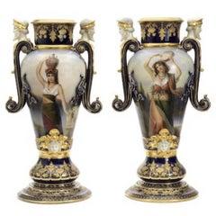 19th Century, a Pair of Massive Vienna Style Pirkenhammer Vases