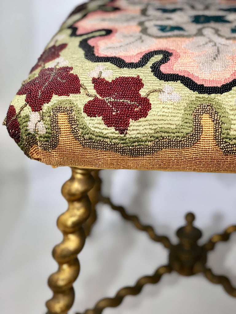 19th Century, Napoleon III Era Giltwood Tabouret, Ottoman Giltwood, France In Fair Condition For Sale In Miami, FL