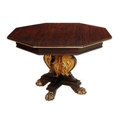 19th Century, Renaissance Octagonal Table Massive Hand-Carved Ebonized Walnut