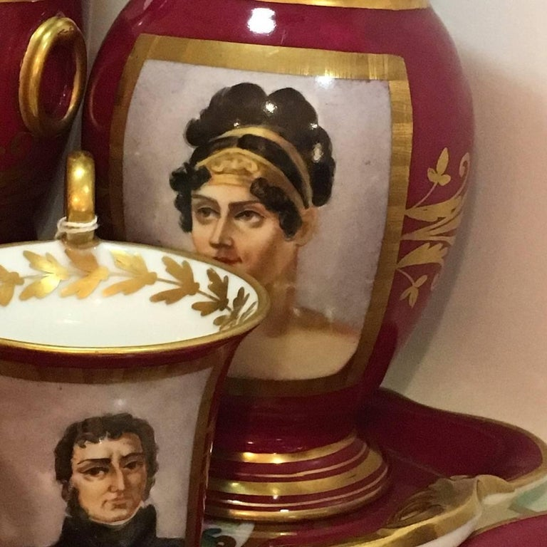 Enameled 19th Century, Paris Porcelain Tea Set Featuring Napoleonic Portraits with Tray For Sale