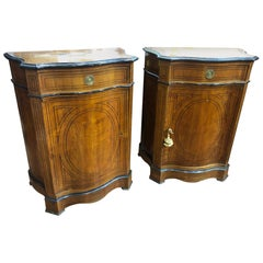 19th Century France Louis Philippe Cherry Ebony Inlaid Pair of Sideboards, 1840s