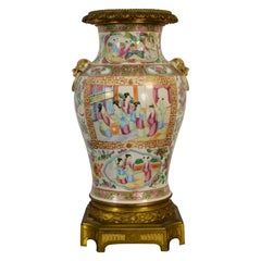 19th Chinese Canton Porcelain Vase with Polychrome and Gilt Decoration