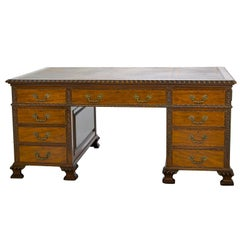 19th Chippendale Style Pedestal Writing Desk
