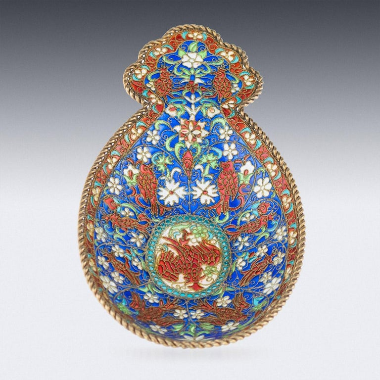 Antique 19th century imperial Russian solid silver-gilt and plique-a-jour enamel kovsh. Oval, with raised shaped trefoil handle, decorated with exotic birds, flowers and floral scrolls in red, blue, pink, green and white within red and twist wire