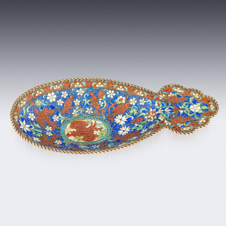 19th Century Russian Solid Silver-Gilt & Plique-A-Jour Enamel Kovsh, circa 1890 In Good Condition For Sale In London, London