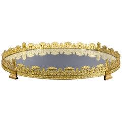 19th, Circular Ormolu Bronze French Centerpiece with Mirror