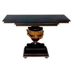 19th Continental Ebonized and Gilt Neoclassical Carved Urn Motif Console
