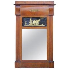 19th Continental Walnut Eglomise Mirror
