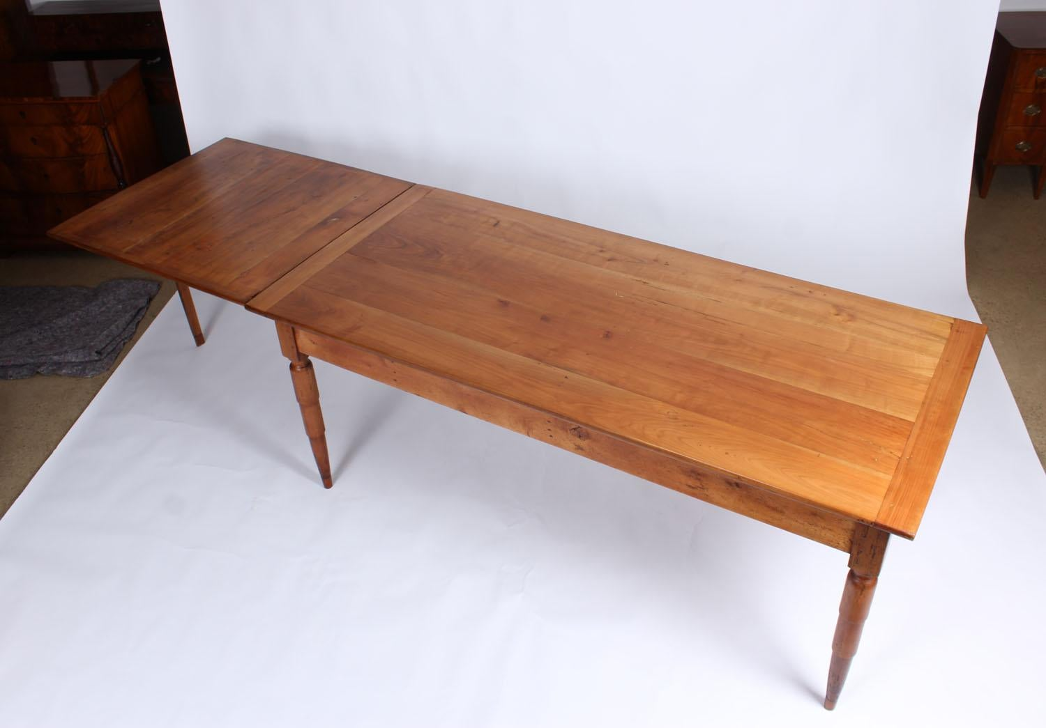19th Century French Farmhouse Table Solid Cherry Extendable For 10 People At 1stdibs