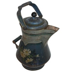 19th Decorated Blue Tin Tole Water Kettle