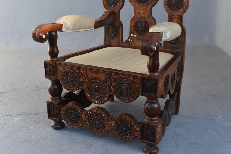 low priced 592f8 3683e 19th Century Dutch Office Chair Asian Floral Inlaid DIM Assises a Prendre