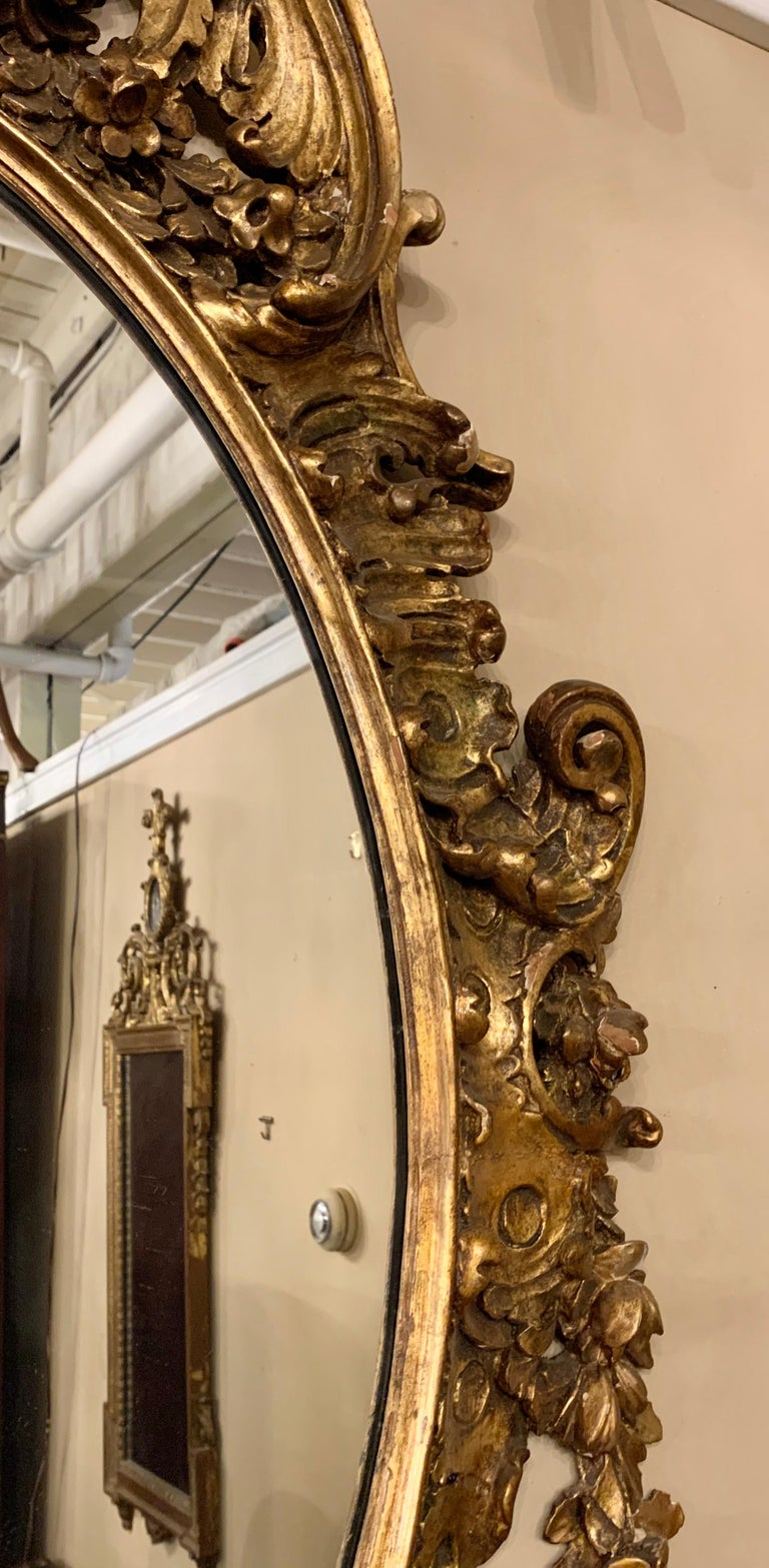19th Early 20th Century Carved Oval Giltwood Wall / Console Mirror For Sale 6