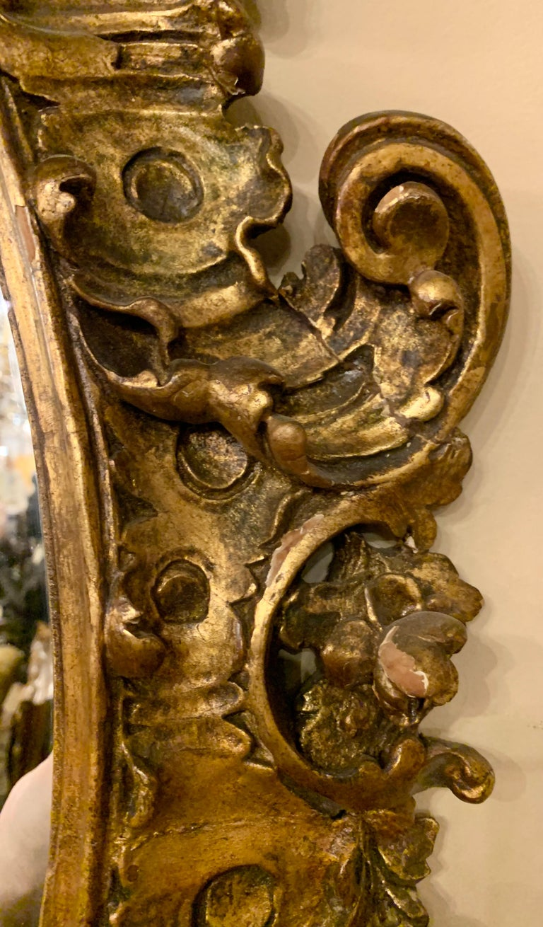 19th Early 20th Century Carved Oval Giltwood Wall / Console Mirror For Sale 7