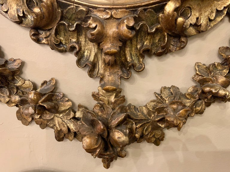 19th Early 20th Century Carved Oval Giltwood Wall / Console Mirror For Sale 3