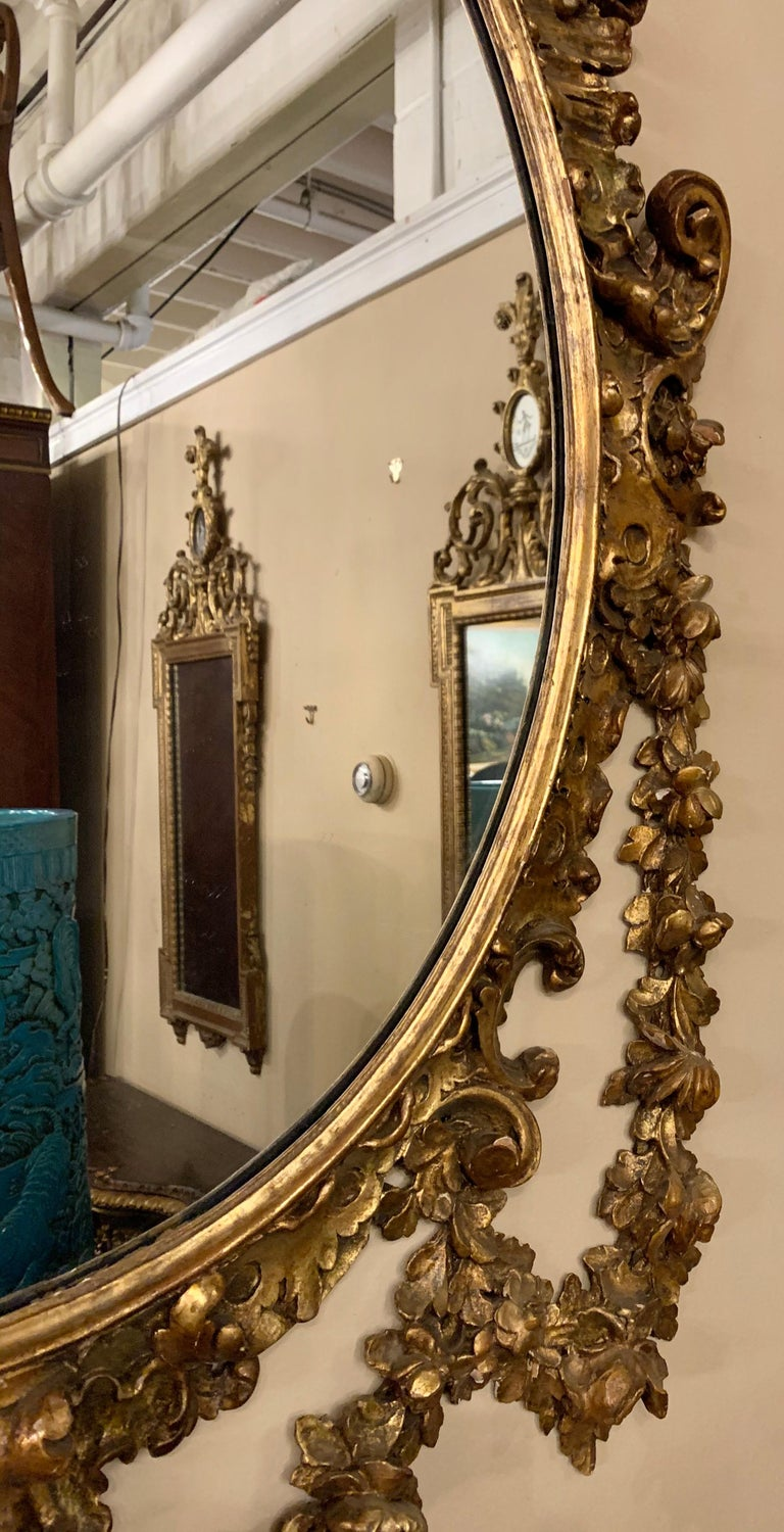 19th Early 20th Century Carved Oval Giltwood Wall / Console Mirror For Sale 5