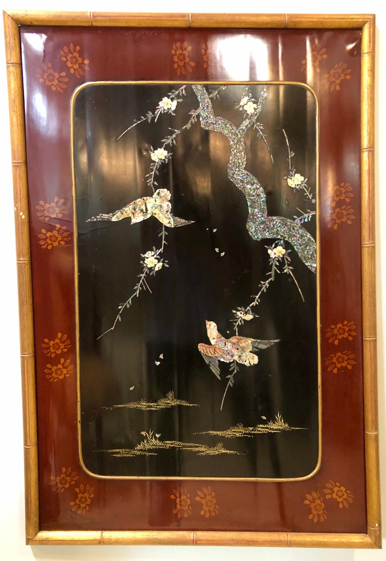 19th-Early 20th Century Chinese Lacquer Panel Wall Hanging In Fair Condition For Sale In Stamford, CT