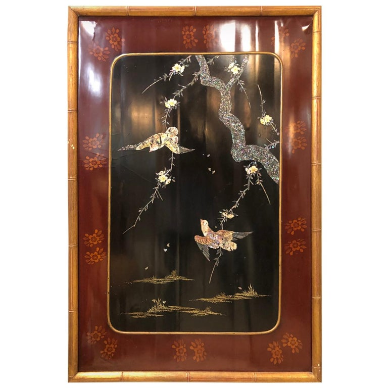 19th-Early 20th Century Chinese Lacquer Panel Wall Hanging For Sale