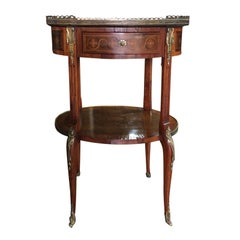 19th-Early 20th Century French Inlaid Side Table with Flowers, Marble Top