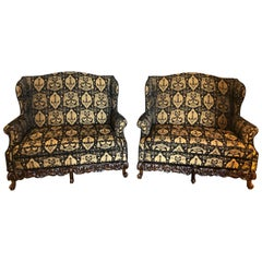 19th-Early 20th Century Settees / Canapes Rococo Style in Fine Fabric
