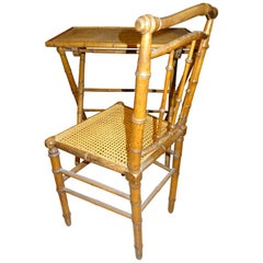 English Campaign Wood and Rattan Writing Desk Folding Table and Chair