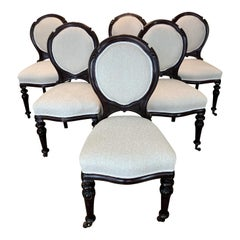 19th English Dining Chairs, Carved Cherry Wood, Boucle Fabric, circa 1880