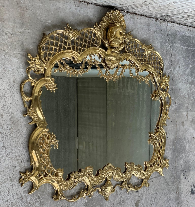 19th French handmade bronze mirror with reliefs.