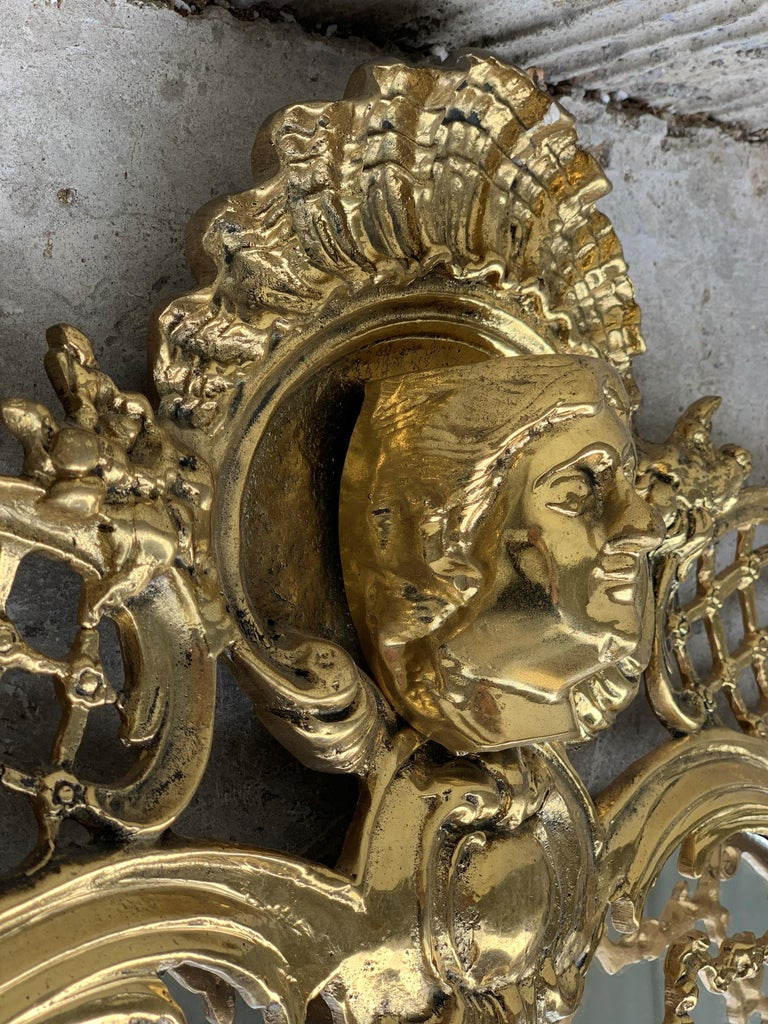 18th Century 19th French Baroque Handmade Bronze Mirror with Reliefs For Sale