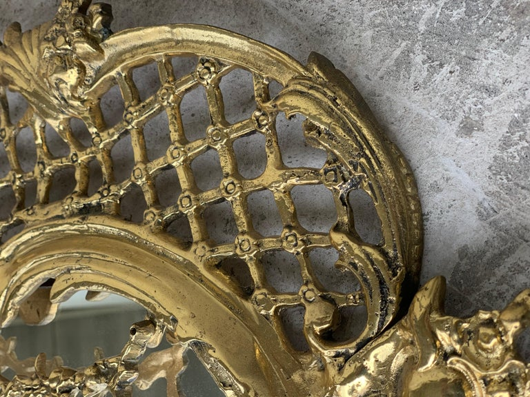 19th French Baroque Handmade Bronze Mirror with Reliefs 1