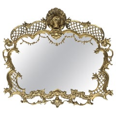 19th French Baroque Handmade Bronze Mirror with Reliefs