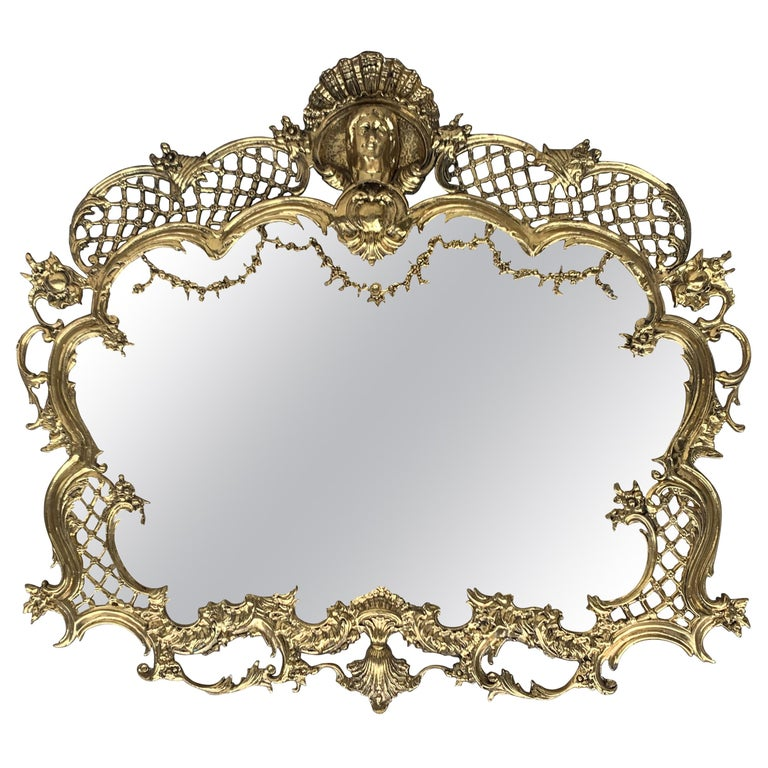 19th French Baroque Handmade Bronze Mirror with Reliefs For Sale