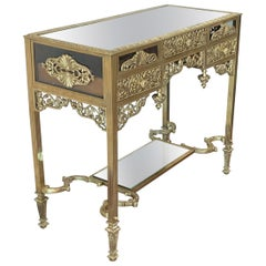 19th French Bronze Mirrored Dressing Table or Vanity with Three Drawers