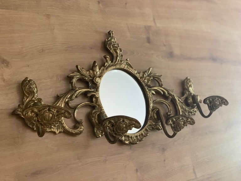 19th Century French Bronze Wall Mounted Coat Rack with Mirror In Good Condition For Sale In Miami, FL