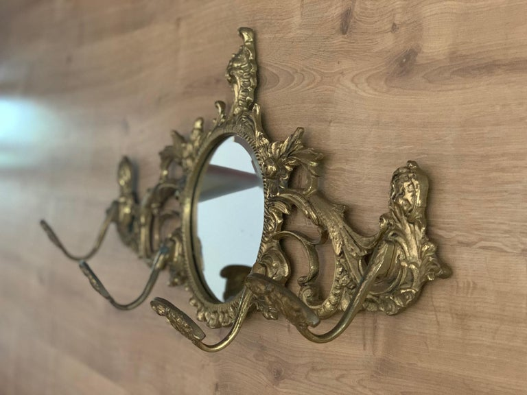19th Century French Bronze Wall Mounted Coat Rack with Mirror For Sale 1